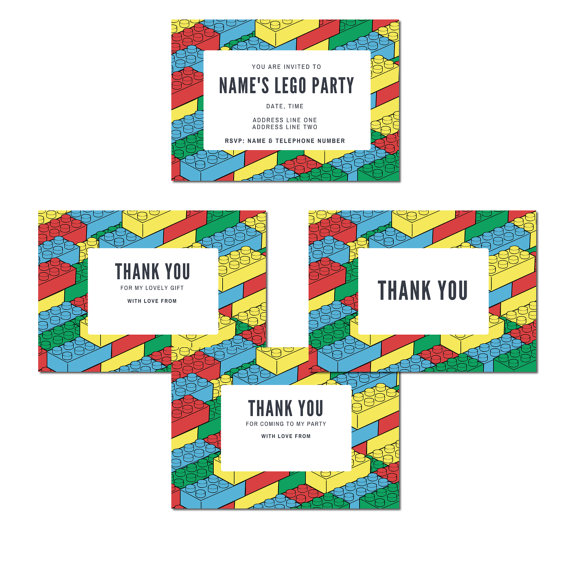 Lego Inspired Birthday Party Inivitations Thank You Notes Personalised Printable